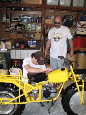 Owner Dave Fillman with son Sam making repairs.
